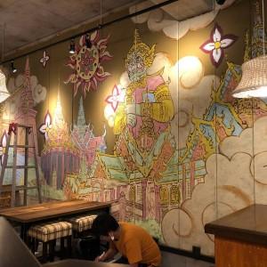 タイ料理店内壁画